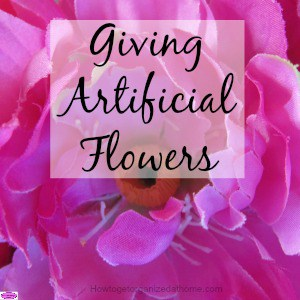 Giving artificial flowers are great alternative to real flowers, they last longer, cheaper and you can colour coordinate them with your room.