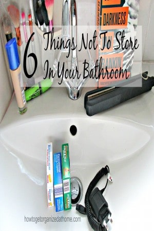 6 things not to store in your bathroom. These items can be bad for you health or for the health of the item being stored!