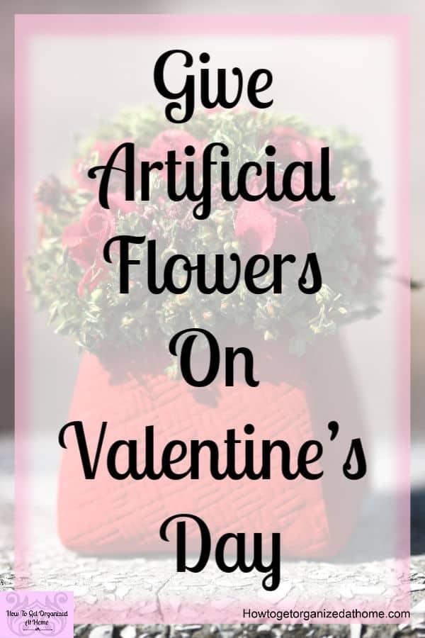 mini pot of artificial flowers