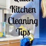 Simple tips and tricks to get your kitchen looking clean and useable all the time! Take the stress out of kitchen cleaning and follow this advice for a simple yet effective kitchen cleaning routine!