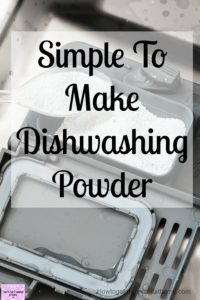 Simple homemade dishwashing detergent powder that is easy to make and use! This dishwasher powder uses citric acid and 3 other ingredients to make!