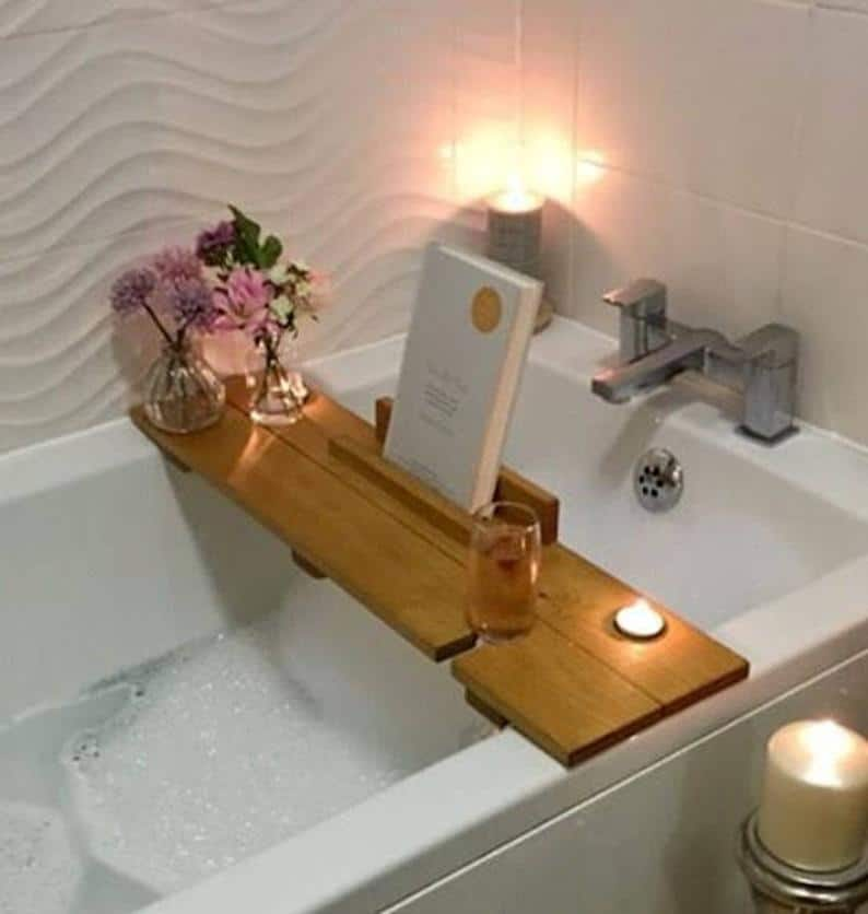 rustic bath shelf