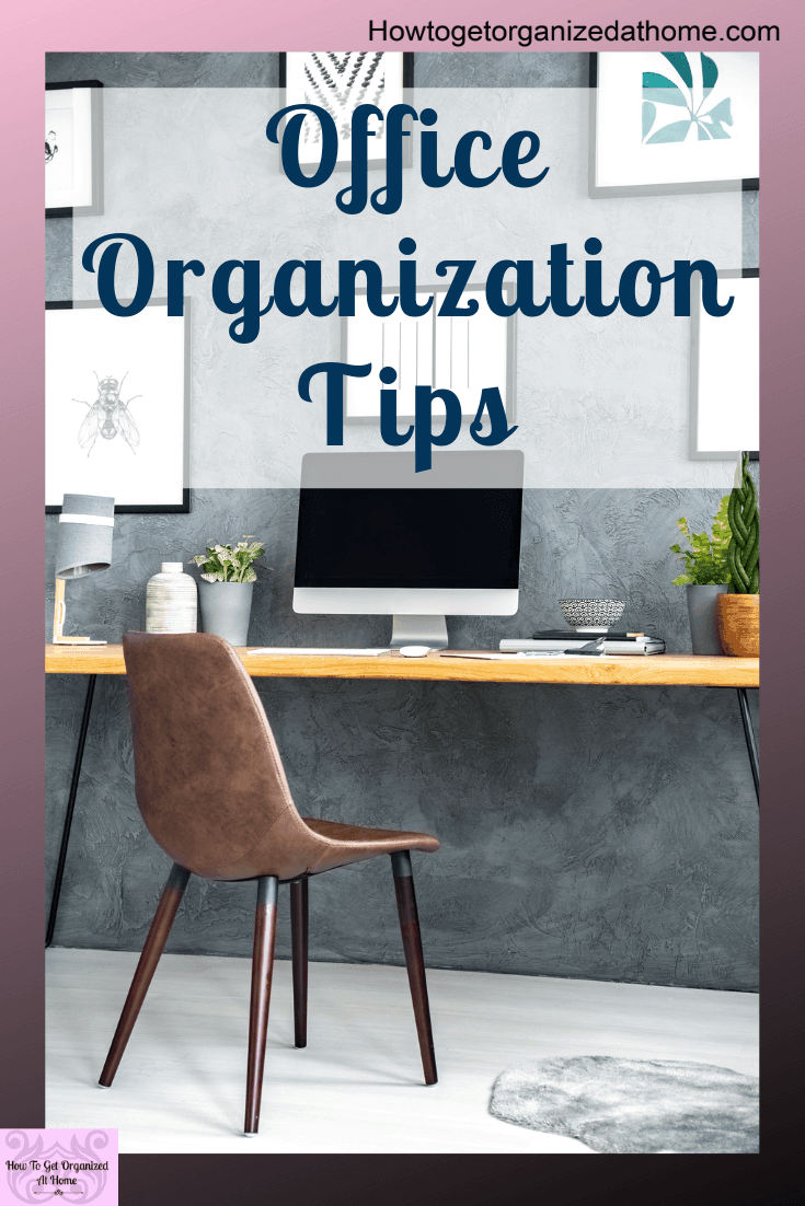 Looking for office organization ideas for the home? These simple tips and ideas will have your home office organized in no time. They will also work for any office, so if you work outside the home and looking for office organization tips you are covered too! #office #homeoffice #organization
