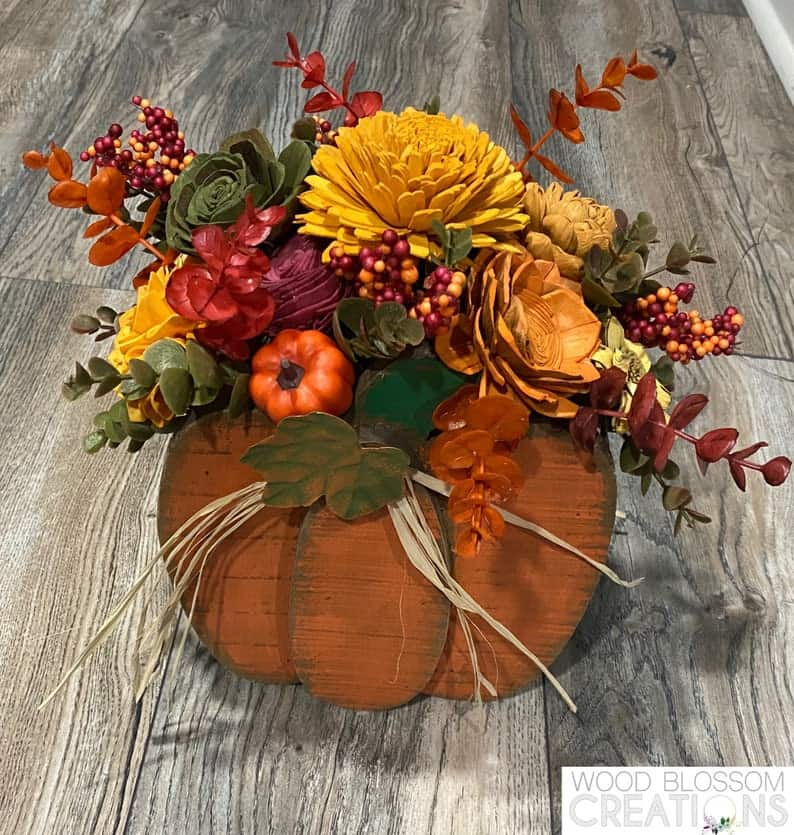 wooden fall pumpkin
